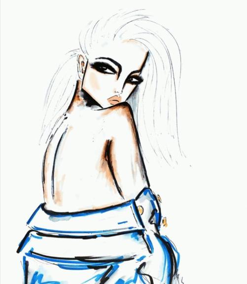 Fashion illustration. Ook te vinden en te koop bij Petit Merci in Apeldoorn